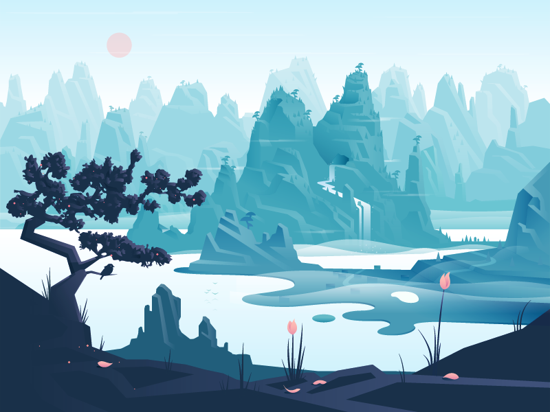 "By Adrian Fernandez – Just finished this new landscape in the series. Trying to achieve a more ""realistic"" illustration style. This is number 2 after the ""Mountain Scenery"" inspired by chinese landscapes - Hope you like..."