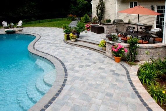 Unilock Pool Deck With Richcliff And Courtstone Paver Backyard Pool Designs Pool Deck Pool Pavers