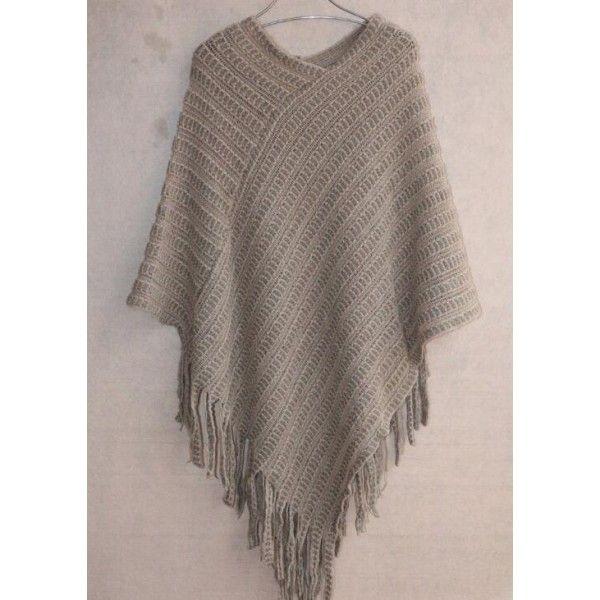 Cape poncho femme laine avec franches must have   couture   Sweaters ... 4e5d401c408