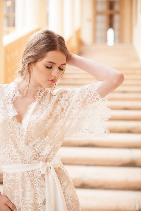 Swan Queen Bridal Lace robe kimono in Ivory with Silk champagne ...