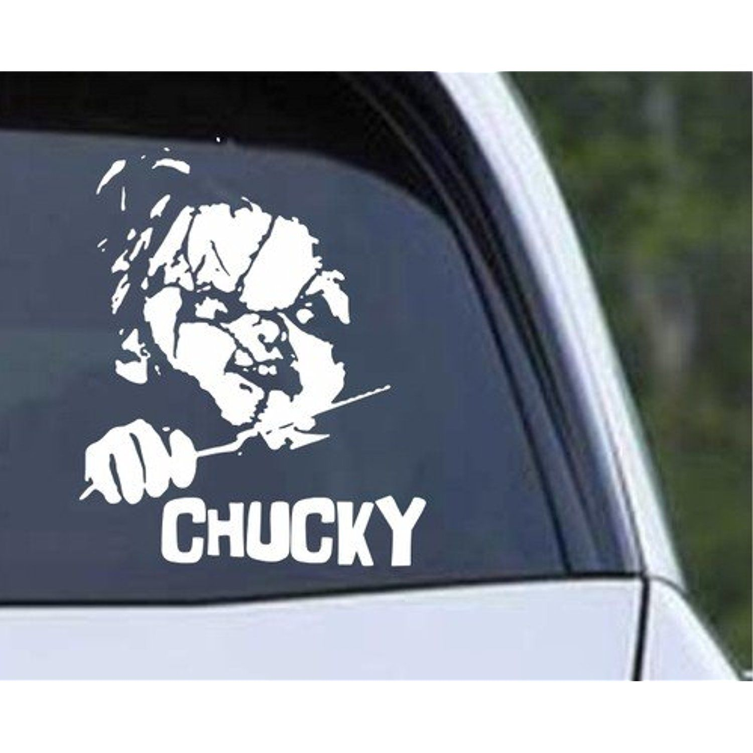 Chucky 6 White Car Truck Vinyl Decal Art Wall Sticker Usa Classic Scary Movies Child S Play Badass Hallowe Classic Scary Movies Wall Stickers Usa Scary Movies [ 1500 x 1500 Pixel ]