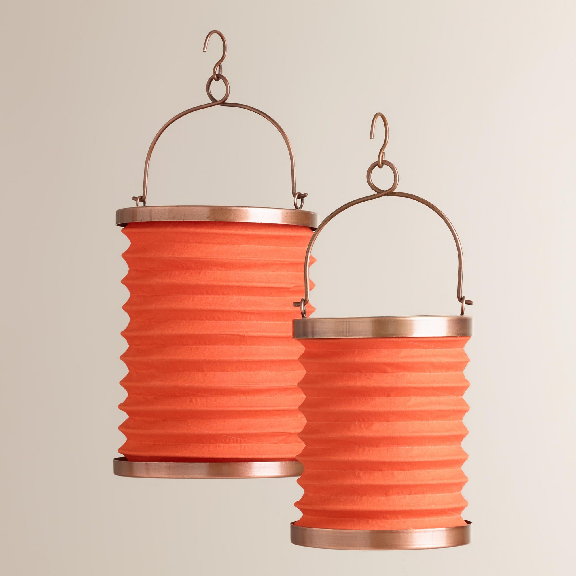 Orange Fabric Folding Lanterns | World Market