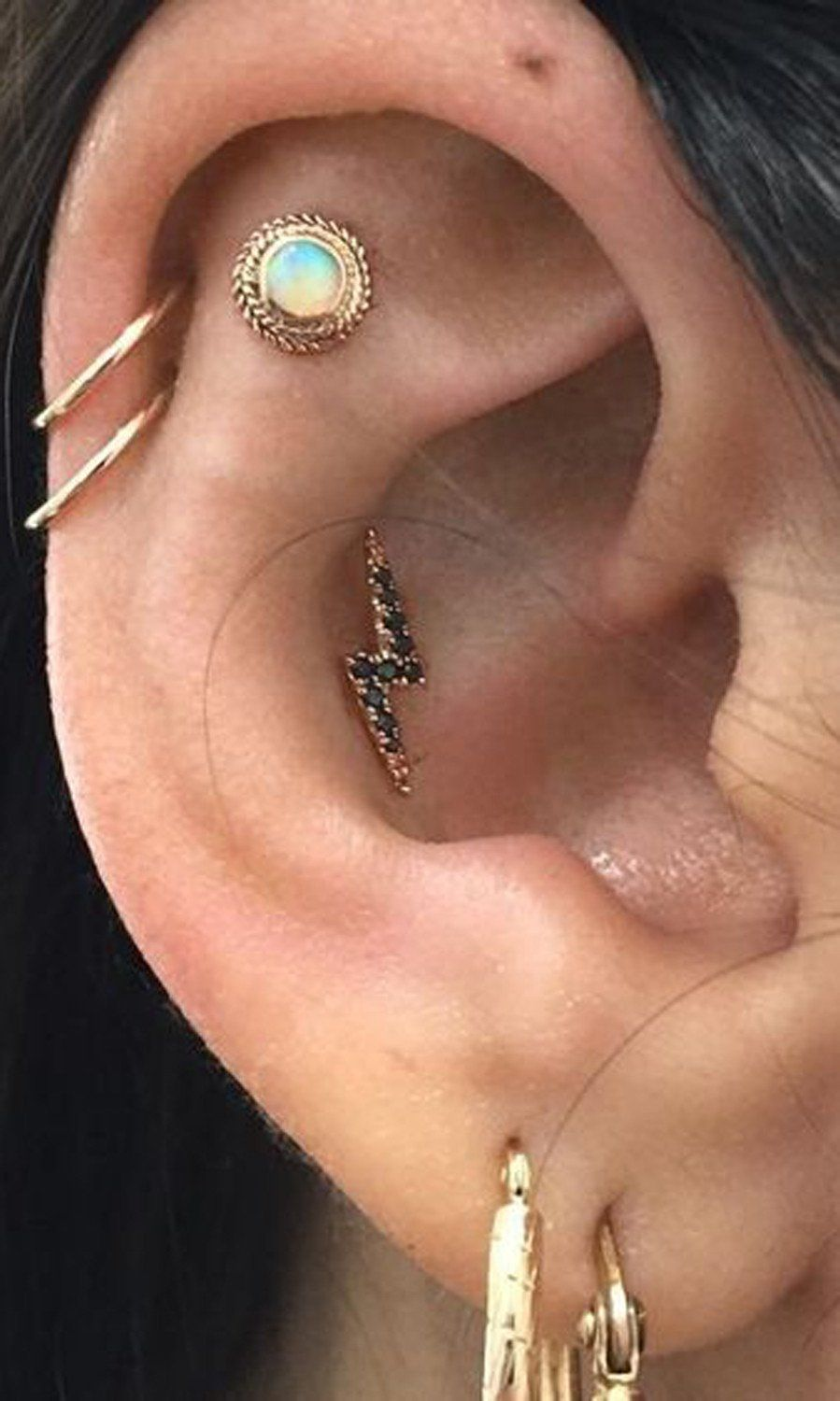 Earring piercing ideas  Steal These  Ear Piercing Ideas  Unique ear piercings Helix hoop