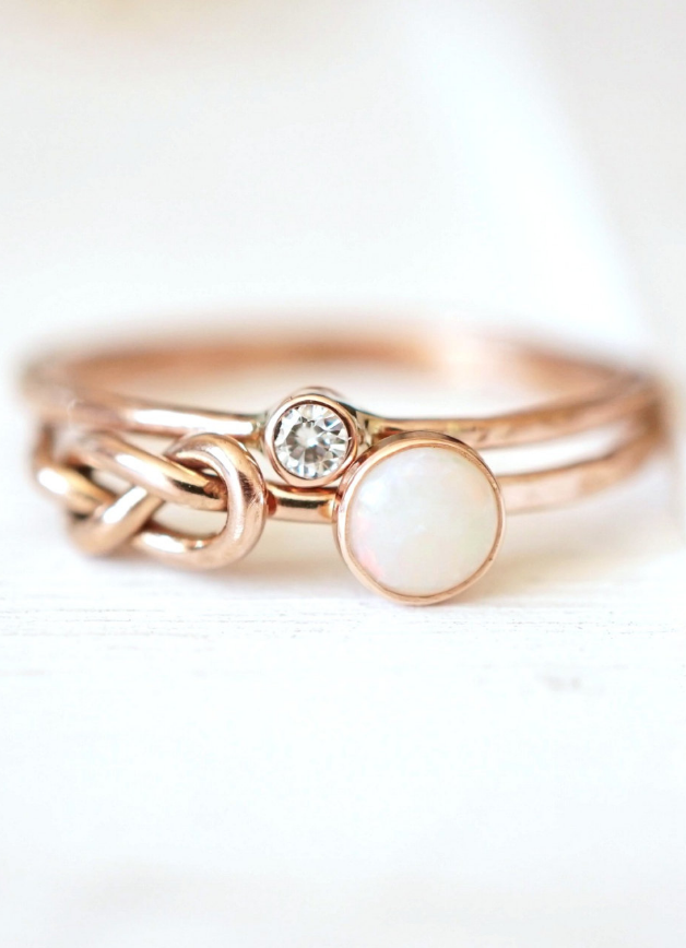 9a70463814983 Opal Infinity Knot Ring Set. Beautiful stacking rings. | Promise ...