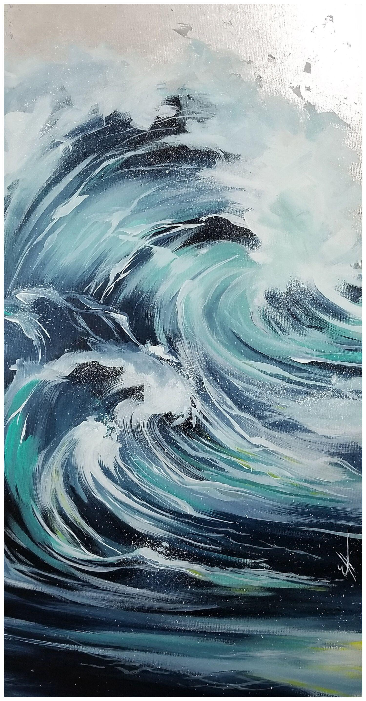 Elle Artiste Peintre — D'AMOUR ET D'EAU FRAÎCHE en 2020   Peintures vagues, Peinture esthétique ...