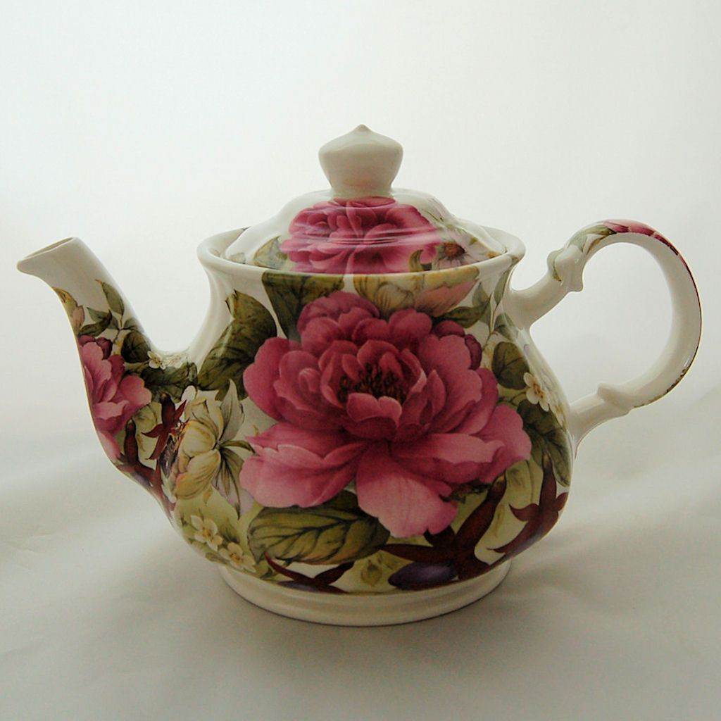 Vintage Sadler England English Teapot Floral Pink Cabbage Roses & from antikavenue on Ruby Lane