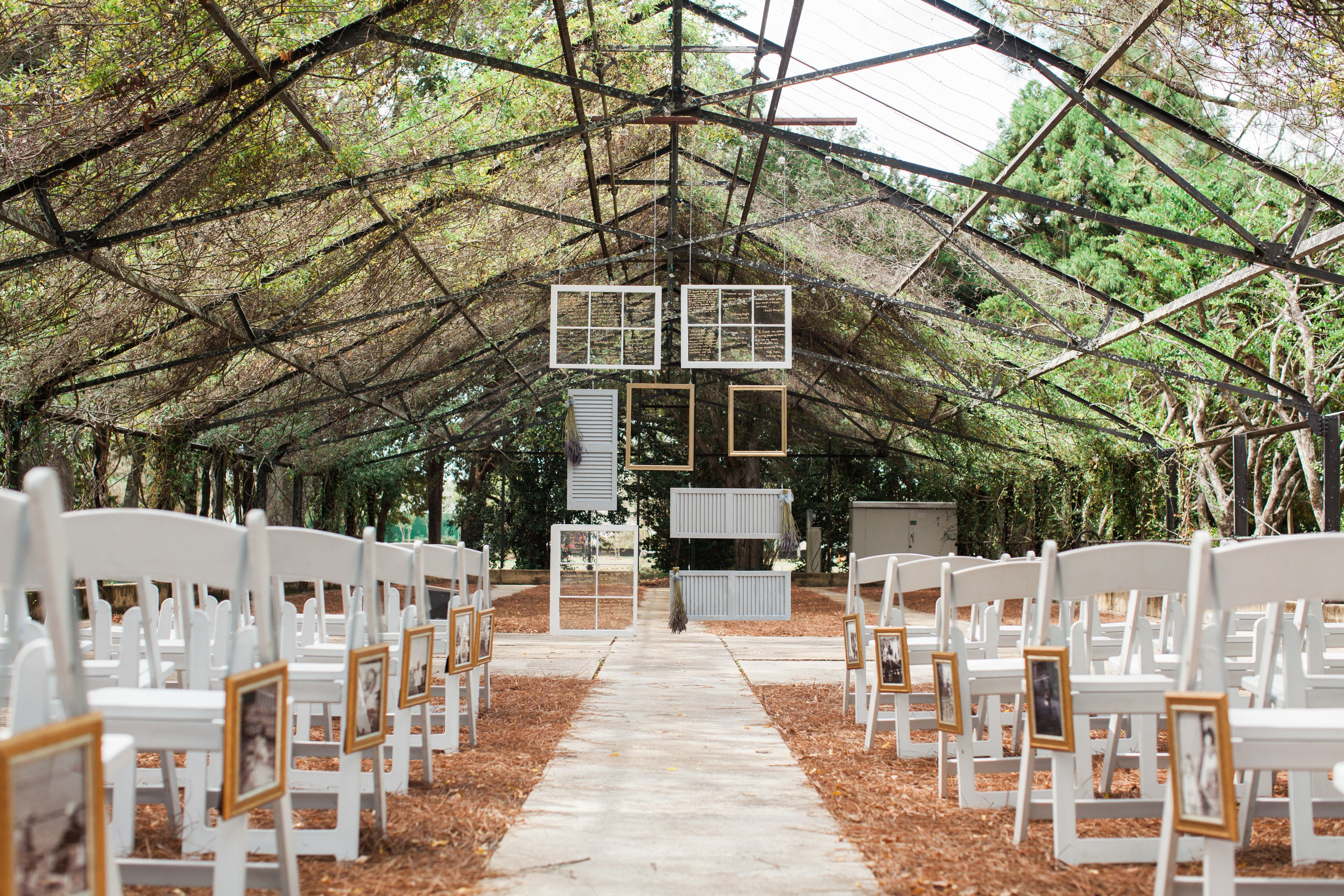 Diy wedding alter with old windows and shutters wedding