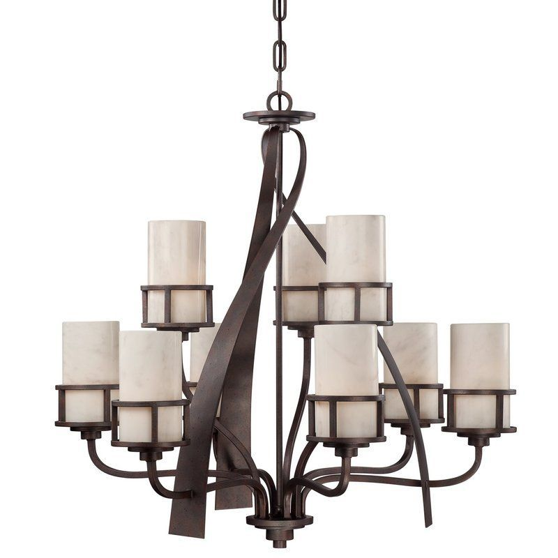 Quoizel ky5009 kyle 9 light 2 tier 35 wide chandelier with onyx pillar candle s