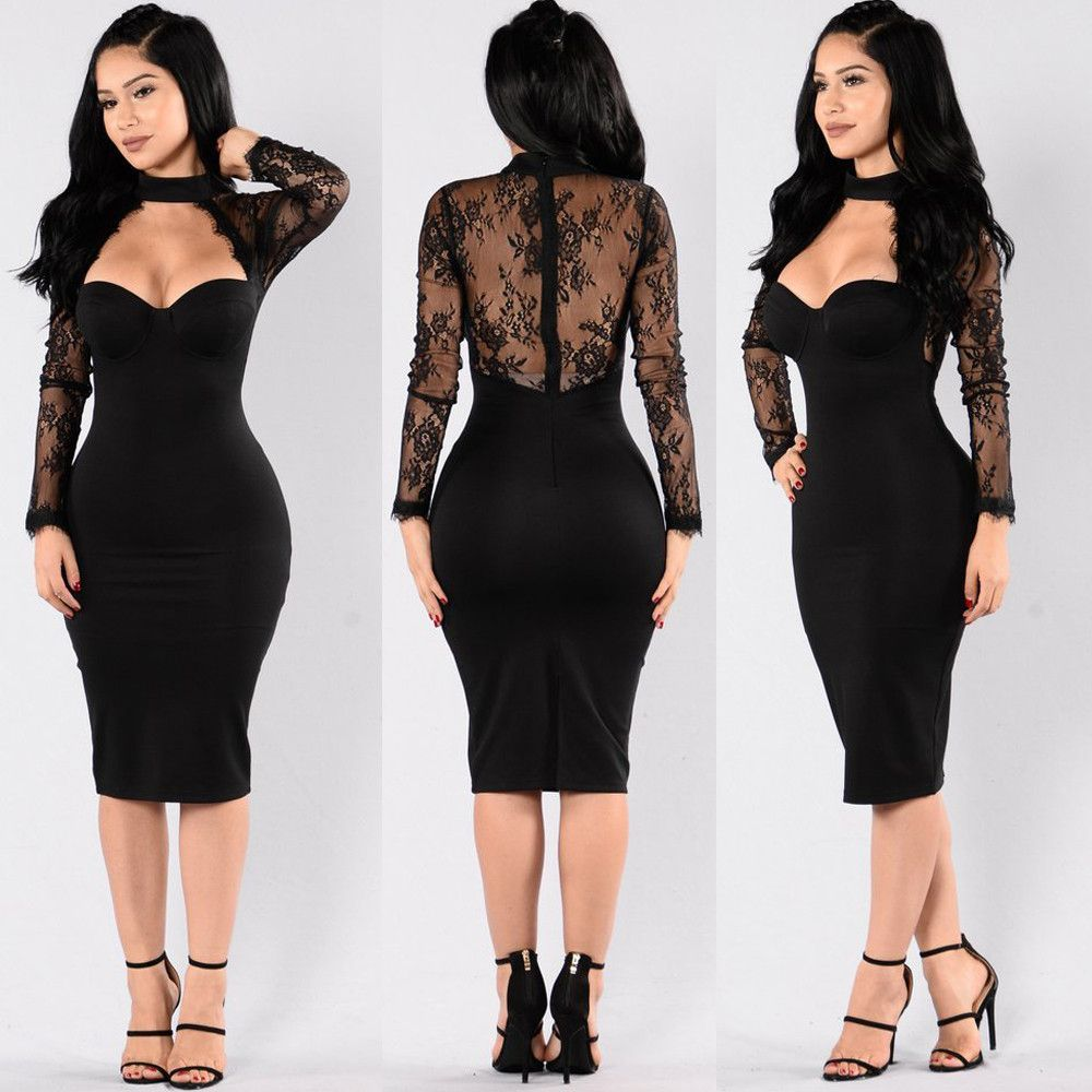 Embroidery lace long sleeve turtleneck dress see through back