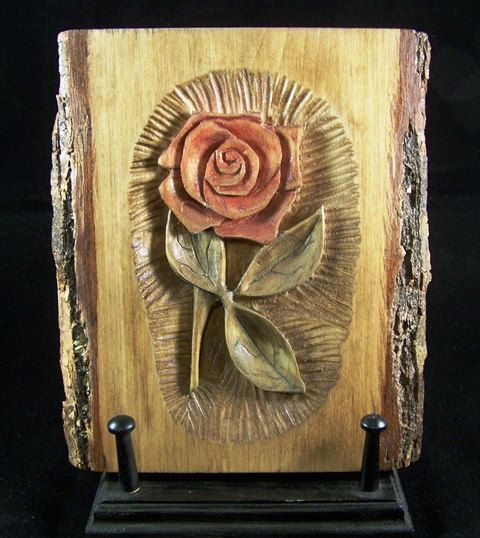 This listing is for a relief wood carving of rose it