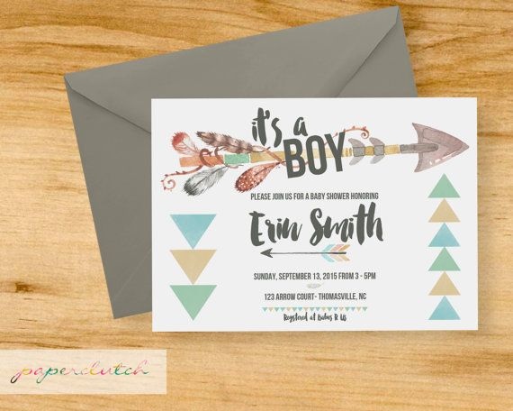 tribal baby shower invitation - arrows & feathers - aztec baby, Baby shower invitations