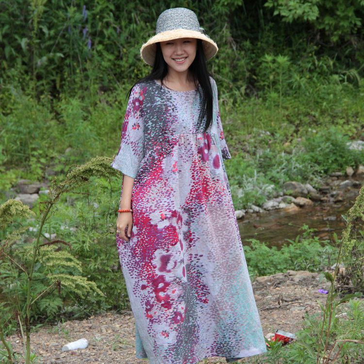 For Summer Long Design Plus Size Loose-Waisted Women's Linen Print Dress O-Neck Batwing Sleeve Ankle-Length $93.00