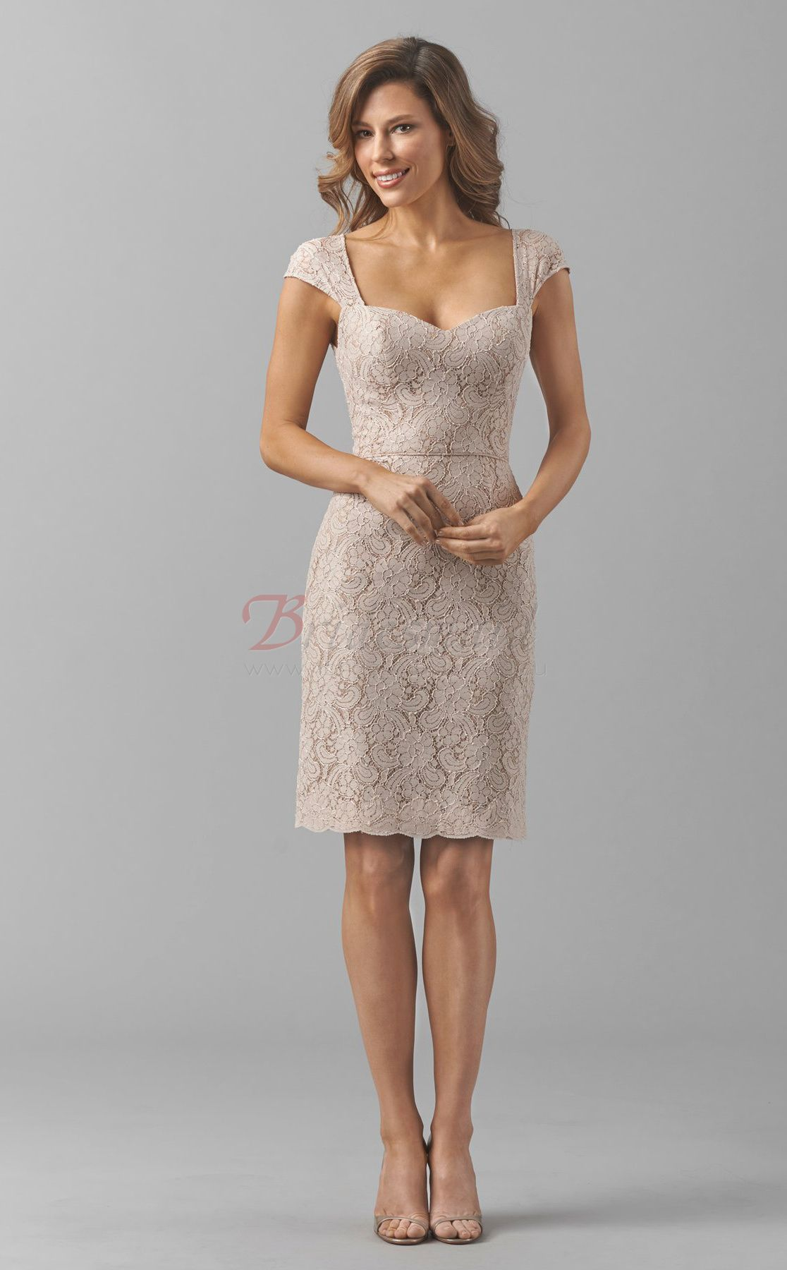 New arrival sheath lace short bridesmaid dresses with sleeves