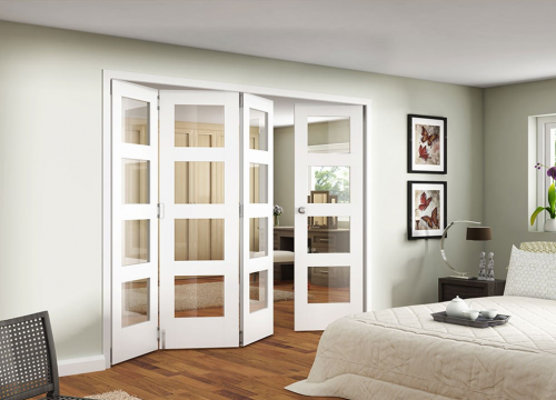 White Shaker 4 Light Clear Bifold Door Range Interior Folding Door System Image Internal Doorsroom Dividersglass