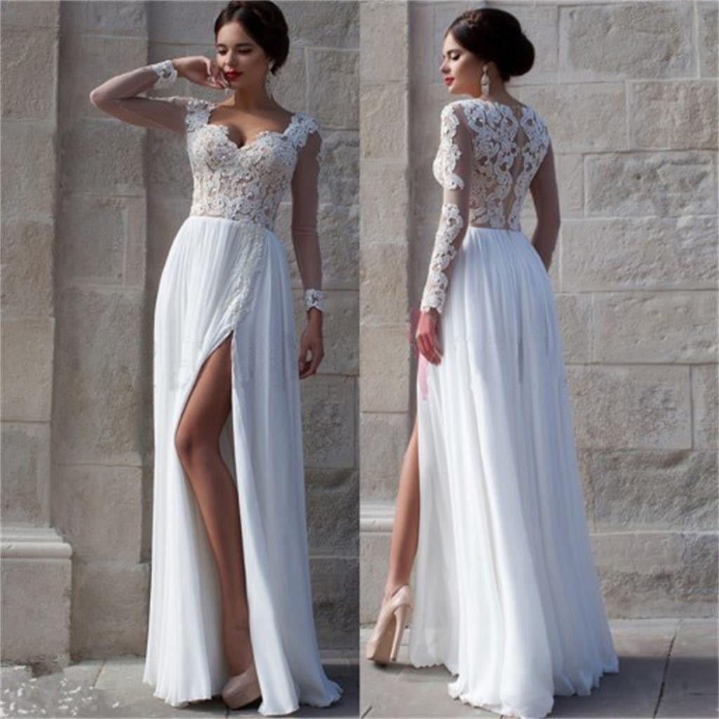 Simple Elegant 2015 Women Summer Wedding Dresses Flowing: Charming Long Sleeve White Lace Top Chiffon Side Split