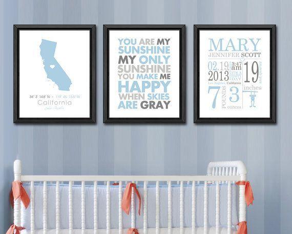 new baby announcement, wall art baby names, birth stats, birth subway art, gift new parents, nursery birth print, custom baby stats set of 3