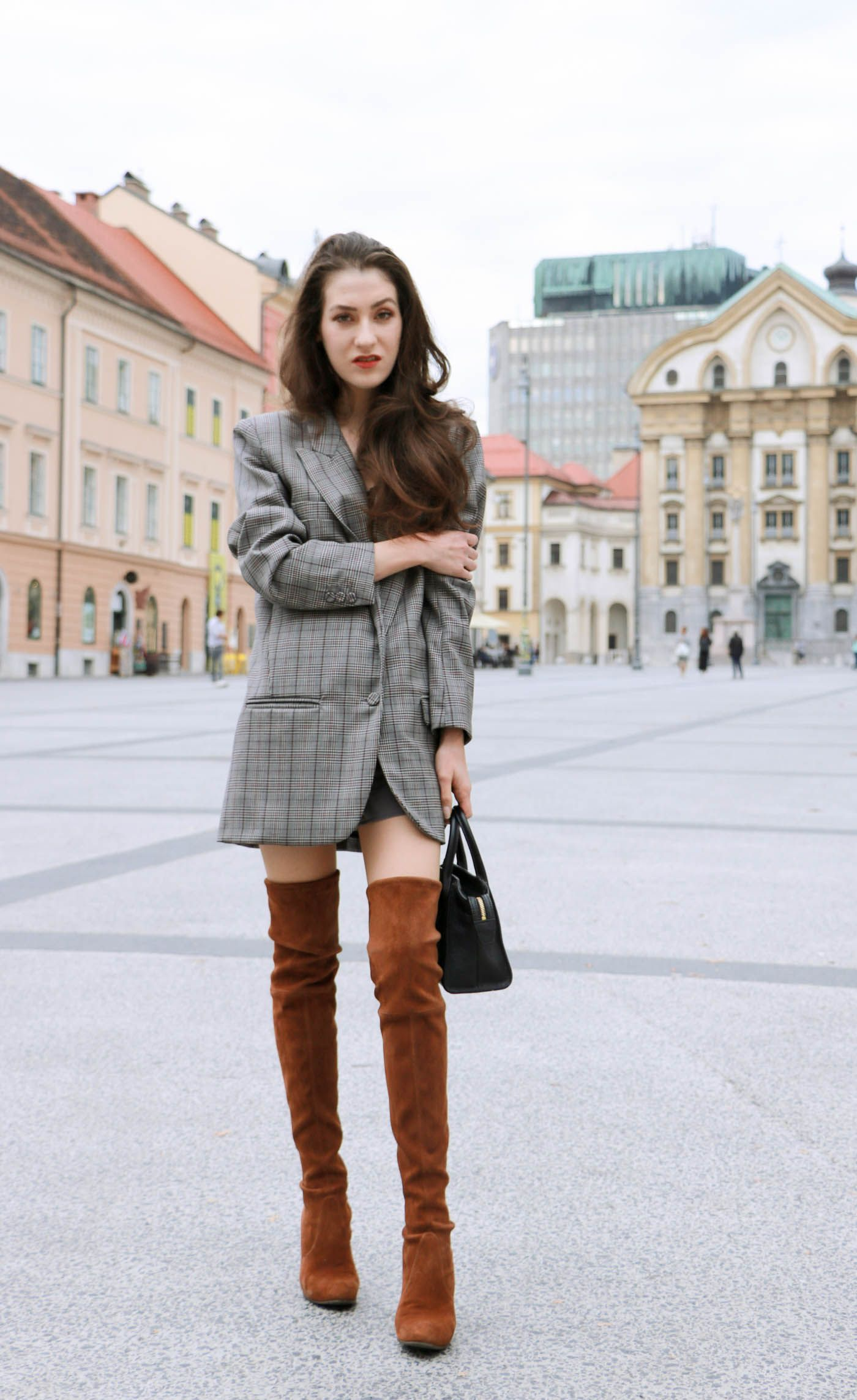 How to style otk boots with a blazer dress brown outfit