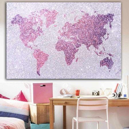 57776d04696 Πίνακας σε καμβά Girly World map ( παγκόσμιος χάρτης για κοριτσίστικο  δωμάτιο )