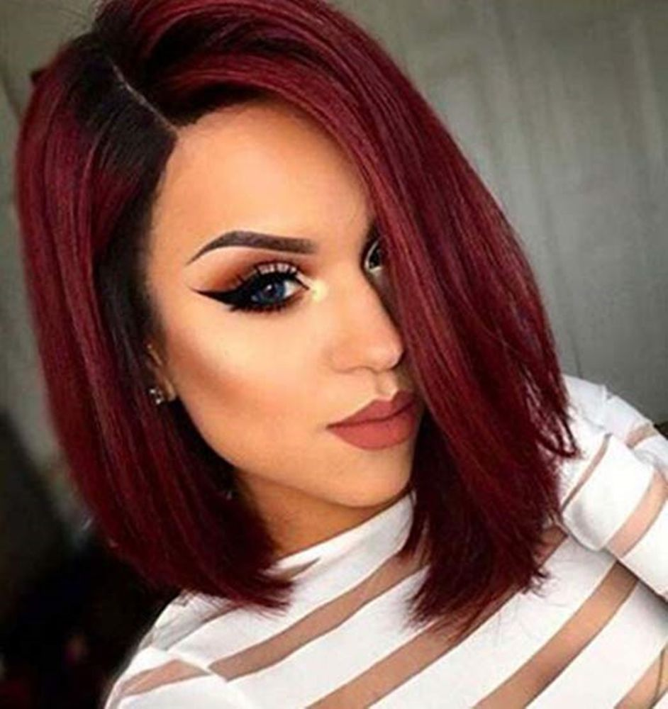 Dip Dye Color 1b To 99j Red Wine Ombre Balayage Bob Wig Human Hair 130 Density Fullshine Bob Short Red Hair Red Bob Hair Wig Hairstyles