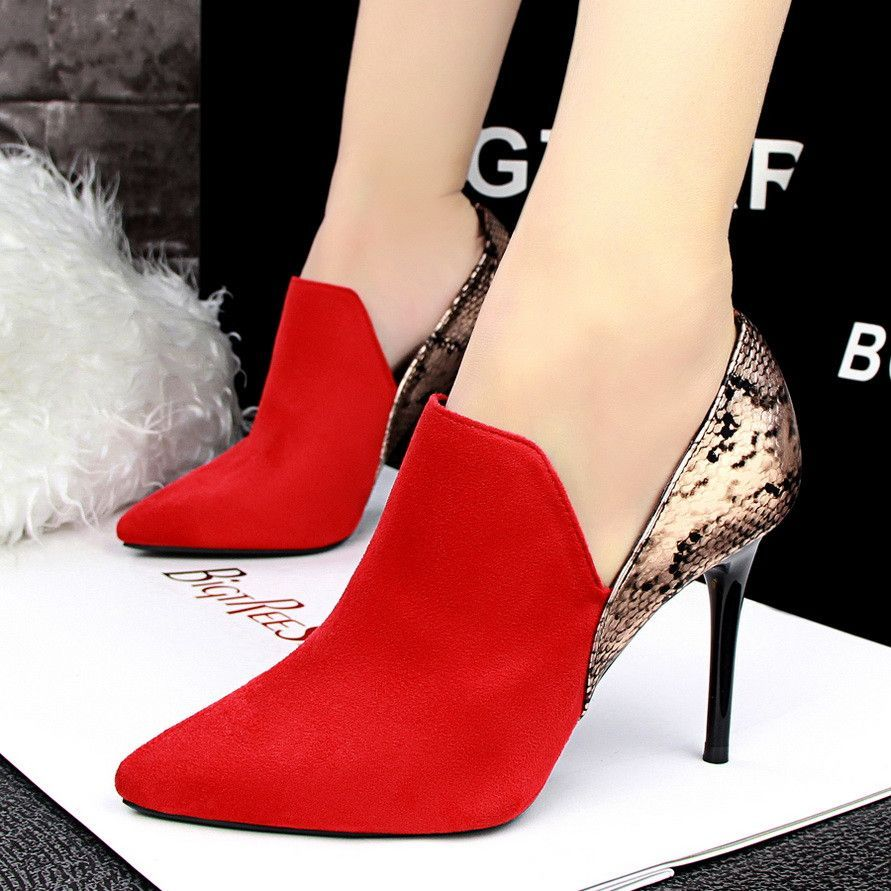 Fashion Wedding Shoes Pumps Women Patchwork Snake Skin Pointed Toe High  Heels Shoes Zapatos Mujer Chaussure b3dc9b3f111b