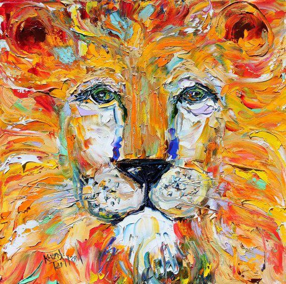 Abstract lion painting original oil impasto by for Pinturas para el hogar