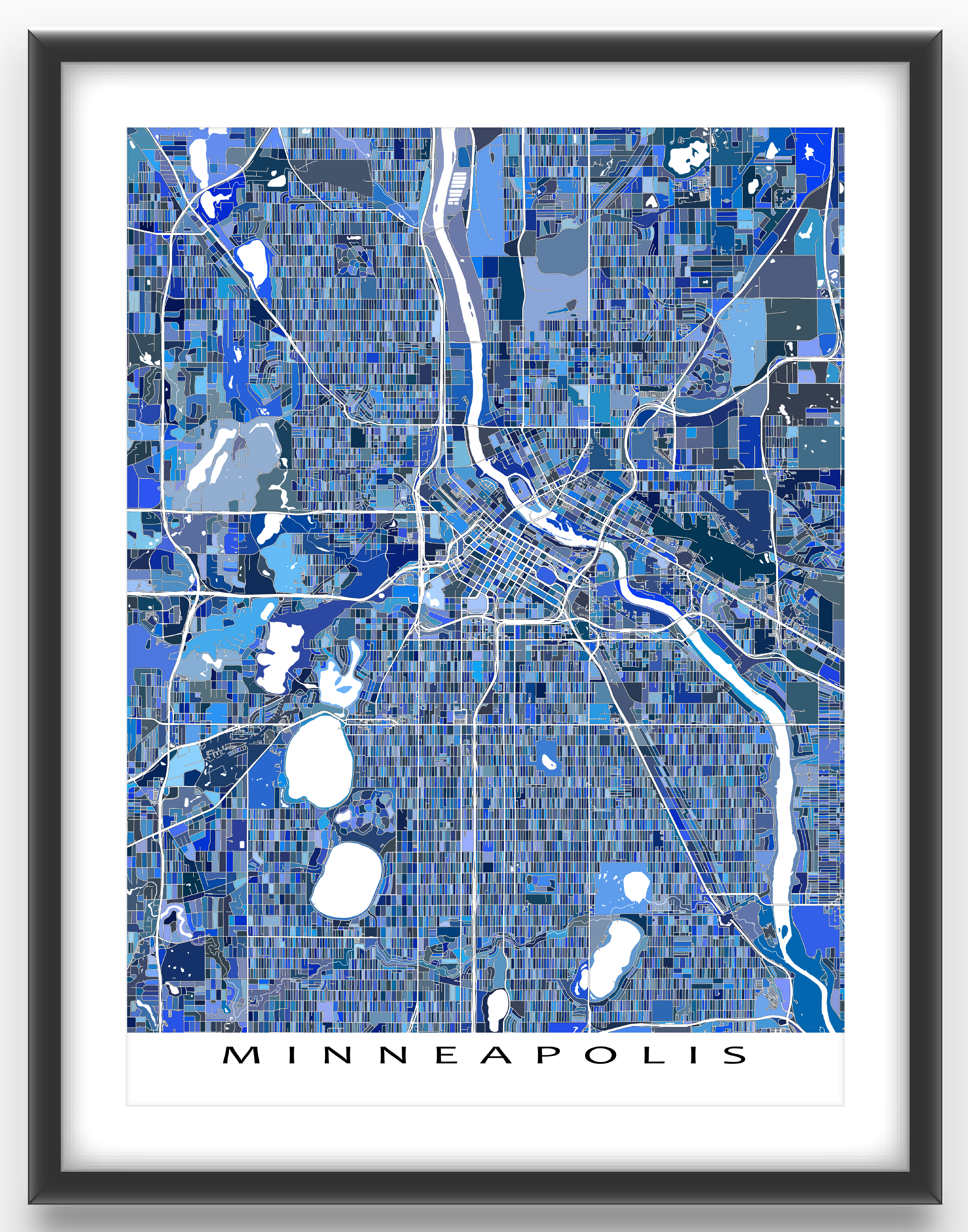 Color printing depaul - Color Printing Madison Wi A Minneapolis Map Art Print Featuring The City Of Minneapolis Minnesota