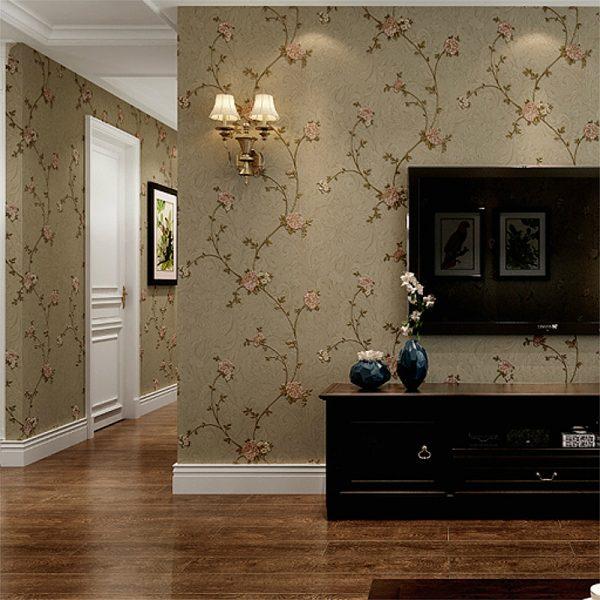 Pink Grren Beige Coffee Victorian Floral Wallpaper 3D