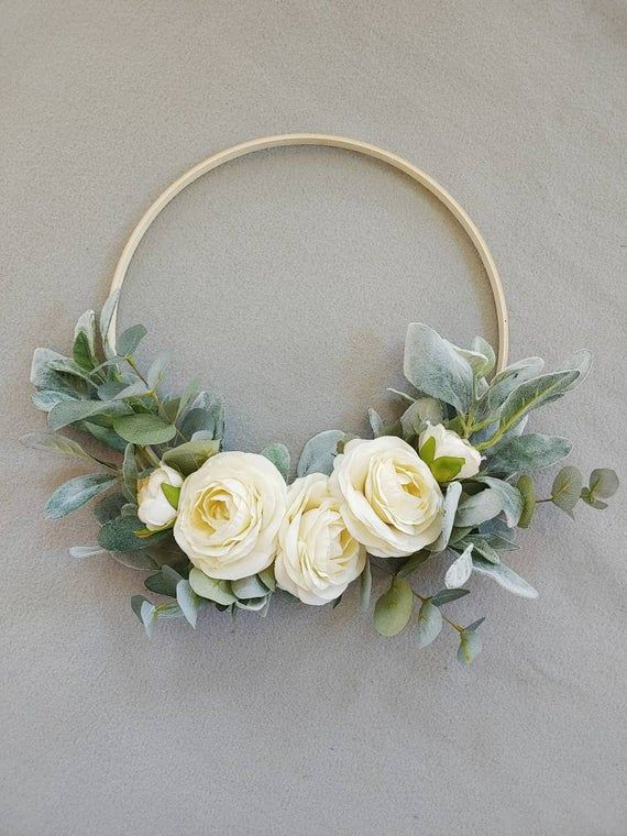 Photo of Floral Wreath, Hoop Wreath, Boho Wreath, Bohemian Wreath, Bridesmaids Bouquet, Wedding Decor, Nursery Decor, Wooden Hoop Wreath, Nursery