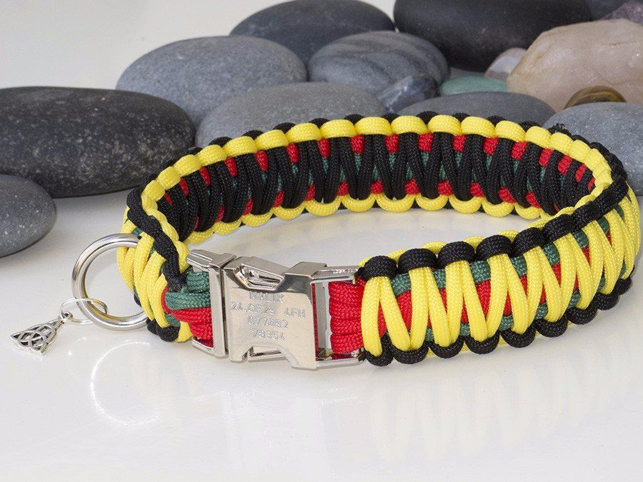 Rastafarian Coloured King Cobra Paracord Dog Collar Pejsci