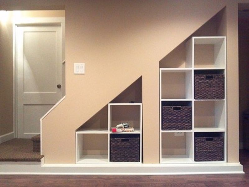 Lighting Basement Washroom Stairs: Furniture: Wood Built In Cabinet Under Basement Stairs