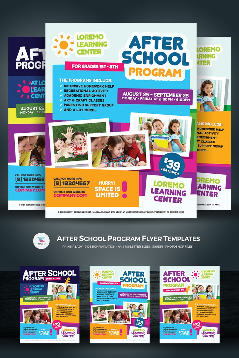 After School Program Flyer Corporate Identity Template Backgrounds