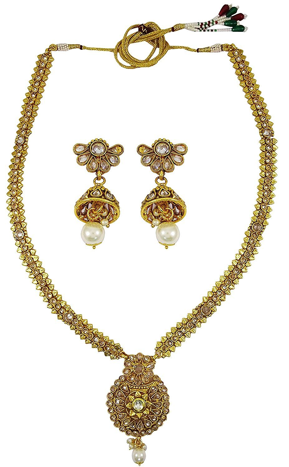 Muchmore Bollywood Fashion Glamorous Crystal Polki Indian Necklace SetTraditional Jewellery AZGx1aACTJ