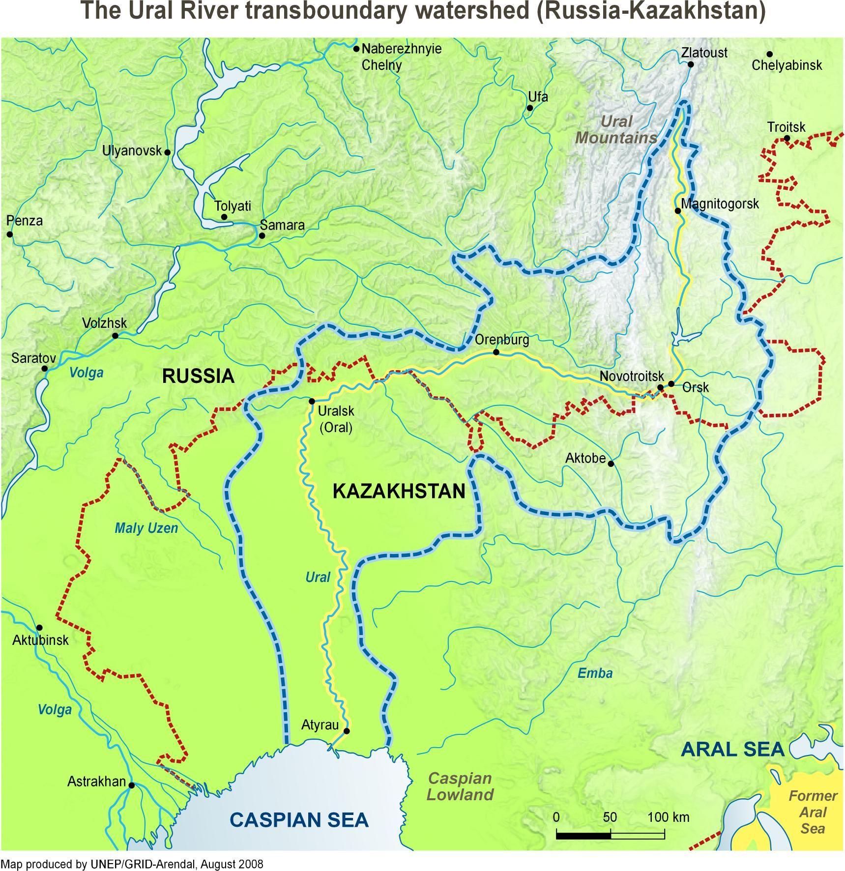 Ural River Map Ural River, Russia (European and Asian) | Challenge A | Russia  Ural River Map