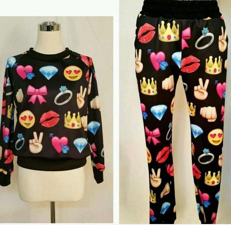 Aliexpress Com Buy 2015 New Emoji Print Cute Cartoon Hoodie Sweatshirt Joggers Pants Sweat Suit Tracksuit Emojis Wom Emoji Clothes Cute Swag Outfits Outfits