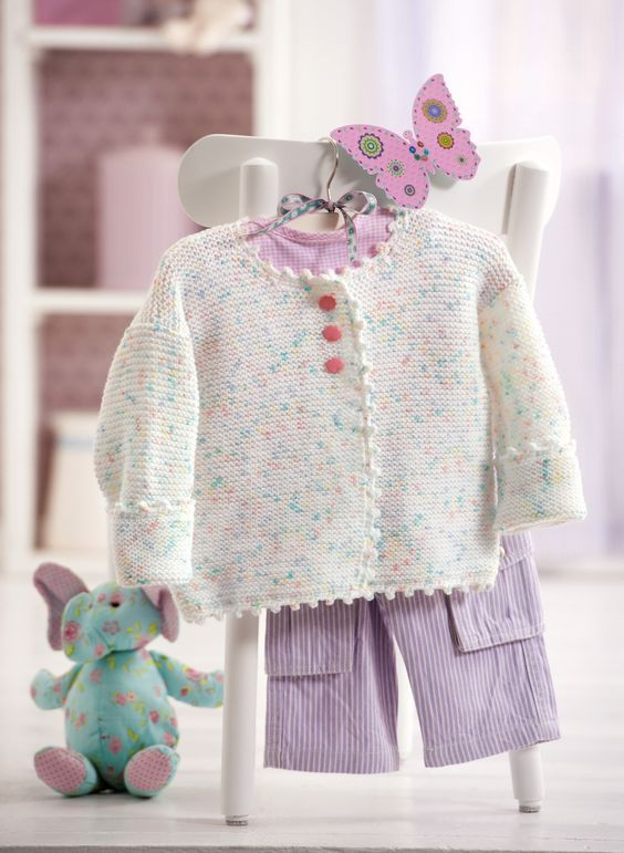 Baby Jacke in zarten Bonbon Farben | Babyjacke stricken
