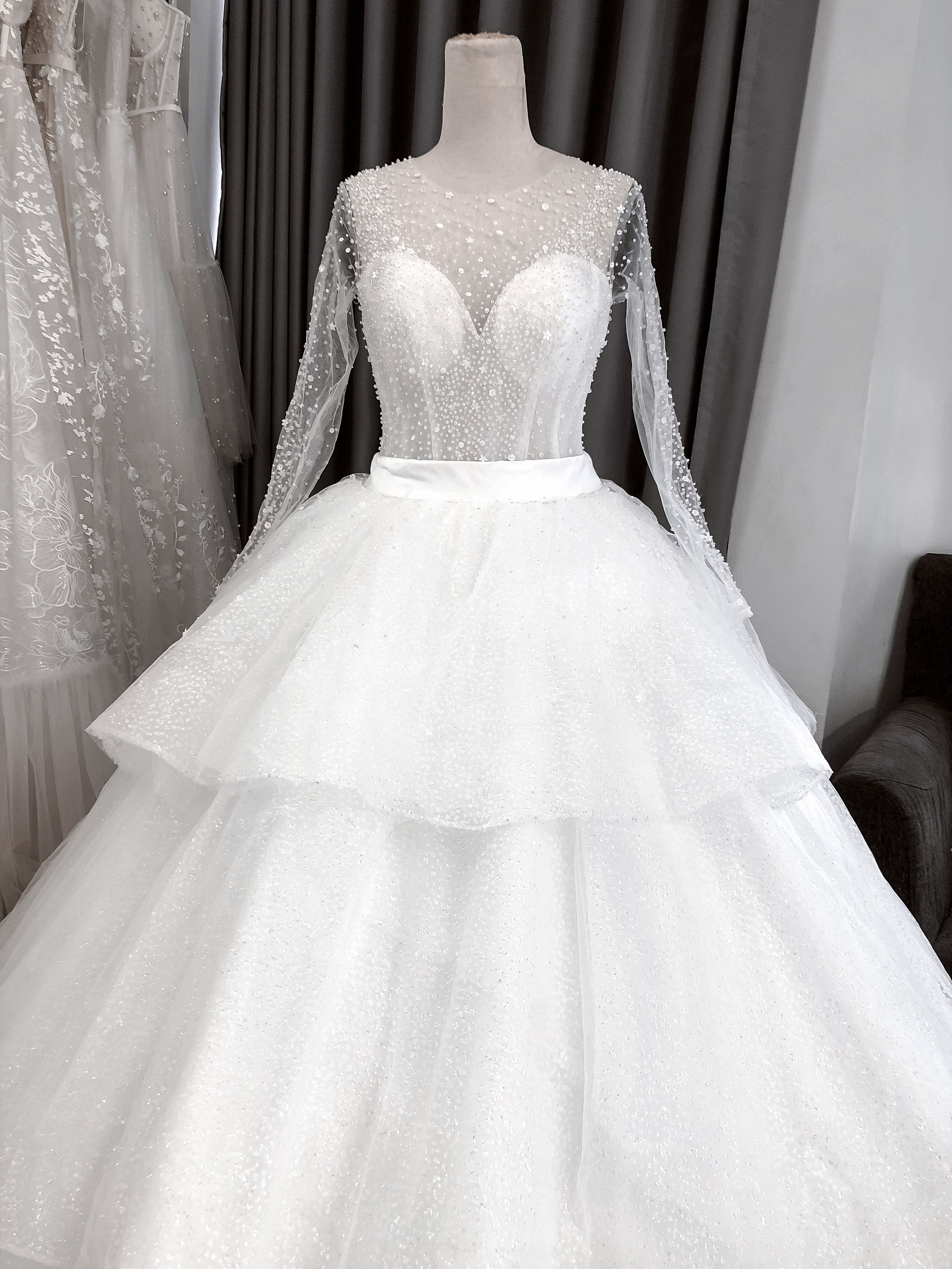Exquisite Ball Gown Silhouette Dress With Long Sleeves Ball Dresses Ball Gowns Wedding Dresses [ 4032 x 3024 Pixel ]