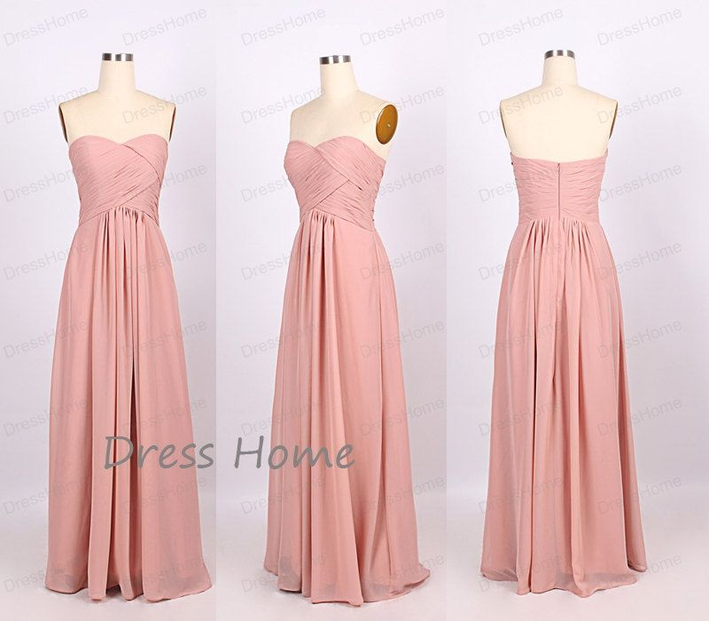 Blush Pink Sweetheart Long Chiffon Bridesmaid by DressHome on Etsy ...
