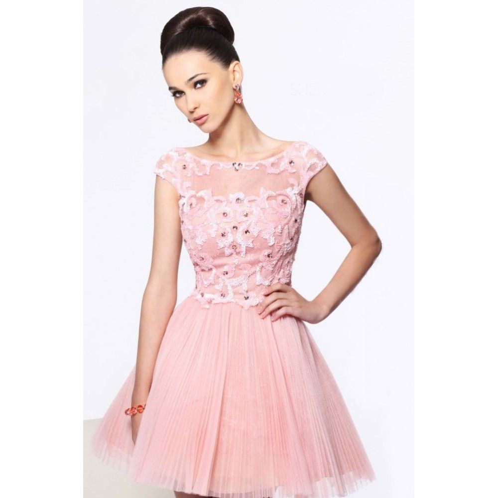 line scoop beading drapped tulle short pink party dress | bridesmaid ...