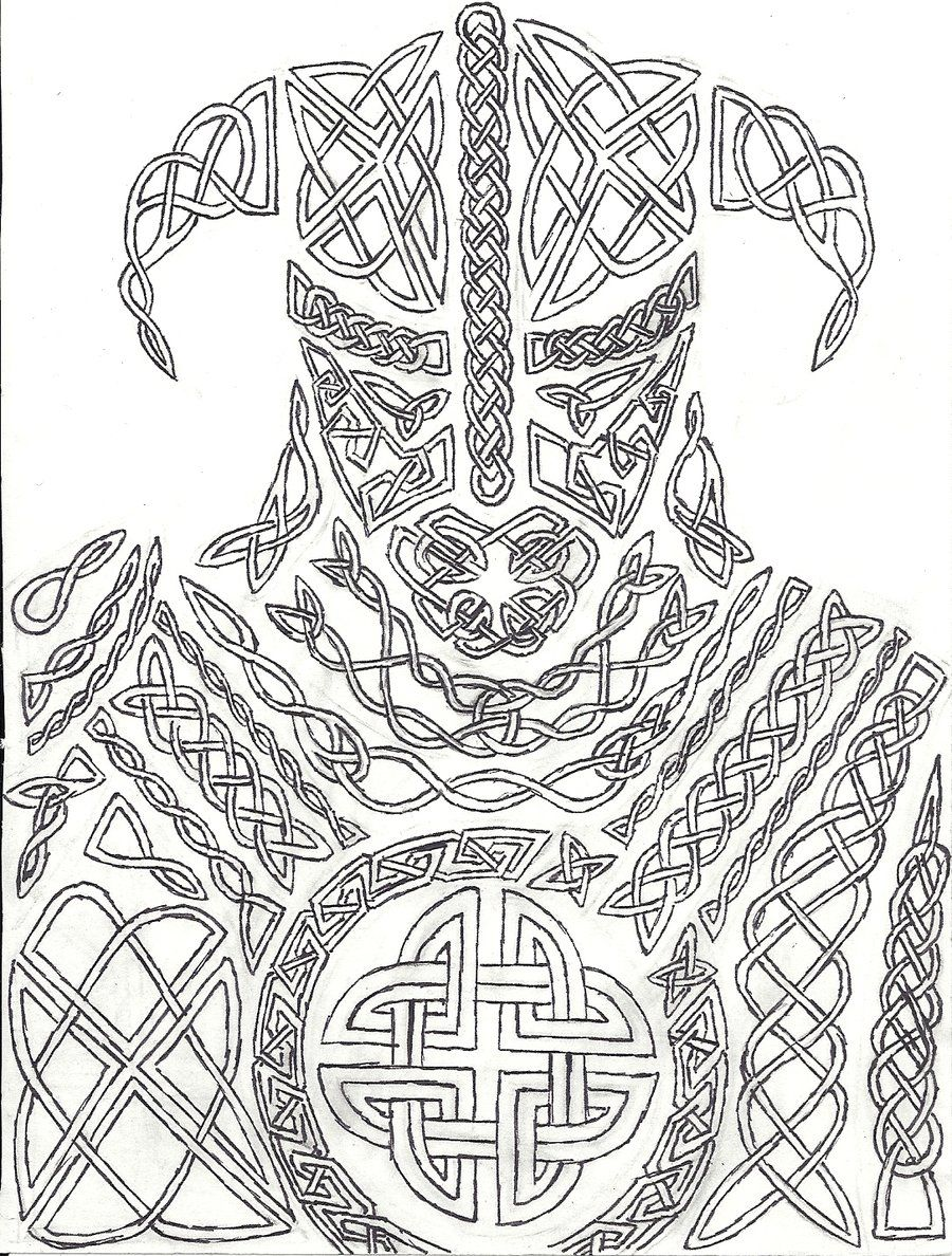 skyrim coloring pages Knotwork Dovahkiin by AHairyBastard.deviantart.| Fantasy  skyrim coloring pages