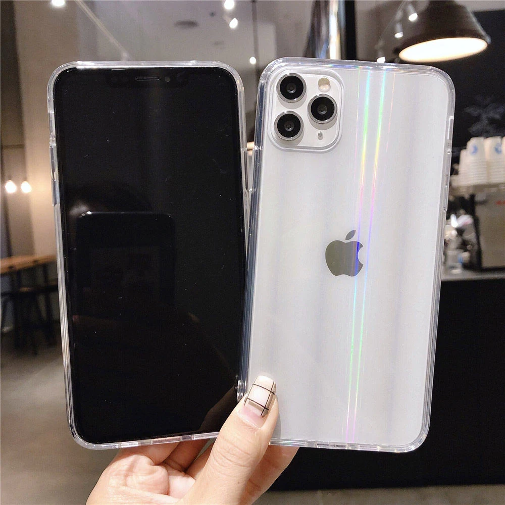 Rainbow Laser Aurora Gradient Case Transparent Cover For Iphone 11 Pro Max Xr X Xs Max 7 8 6 6s Plus Iphone Clear Iphone Case Iphone 11