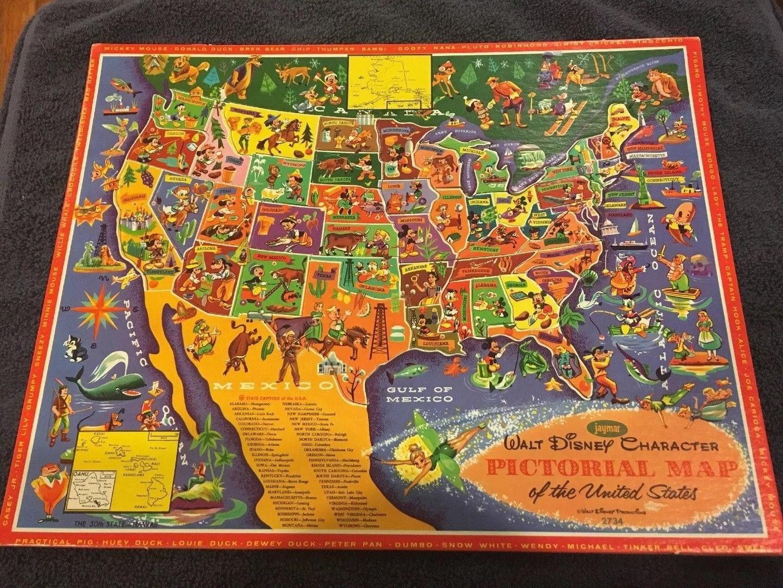 $29 2018 Jaymar Walt Disney Character Pictorial Map Of The ...
