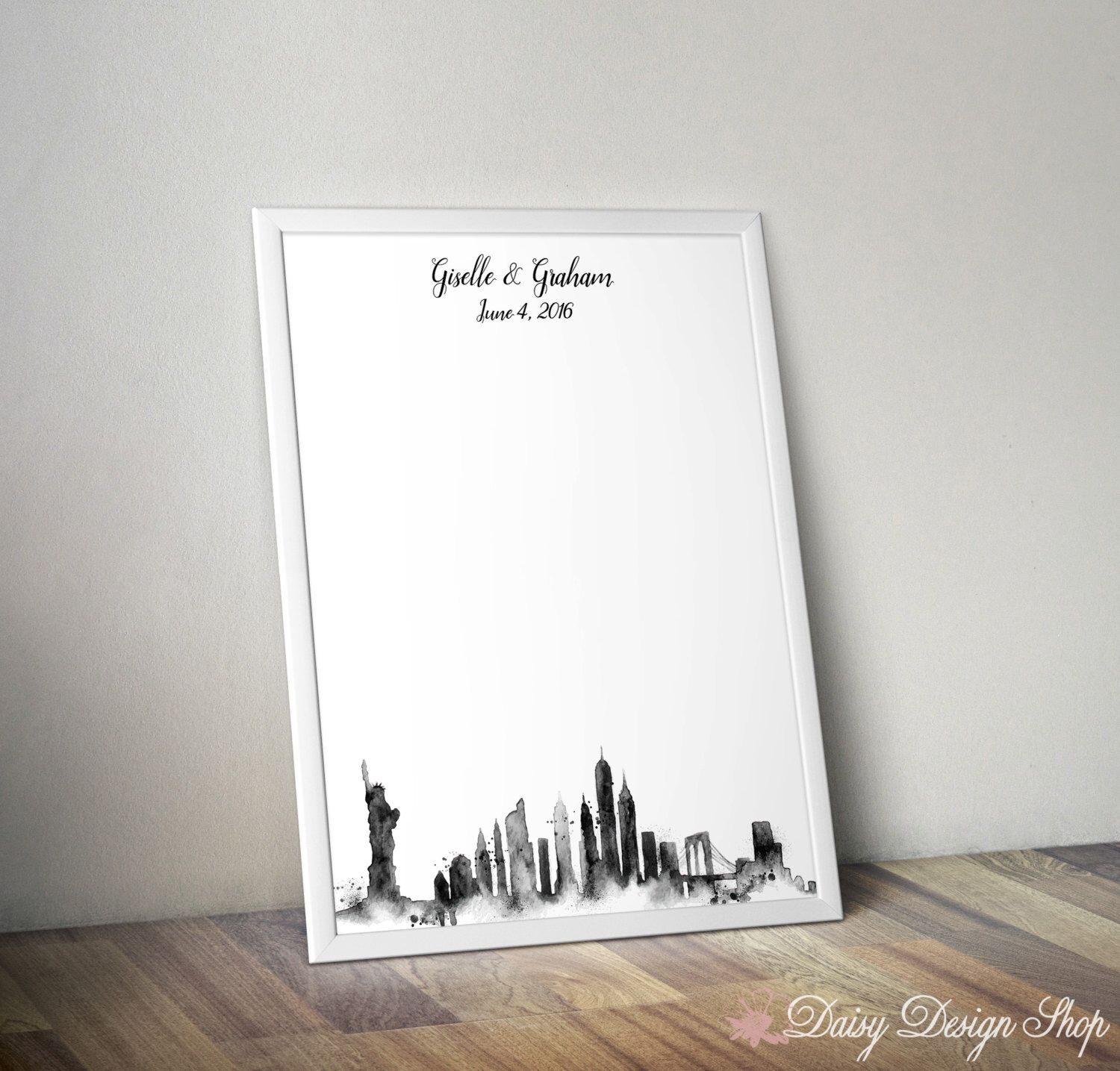 Wedding Guestbook Print New York City Watercolor Skyline Etsy Wedding Guest Book Personalized Wedding Guest Book Guest Book Alternatives