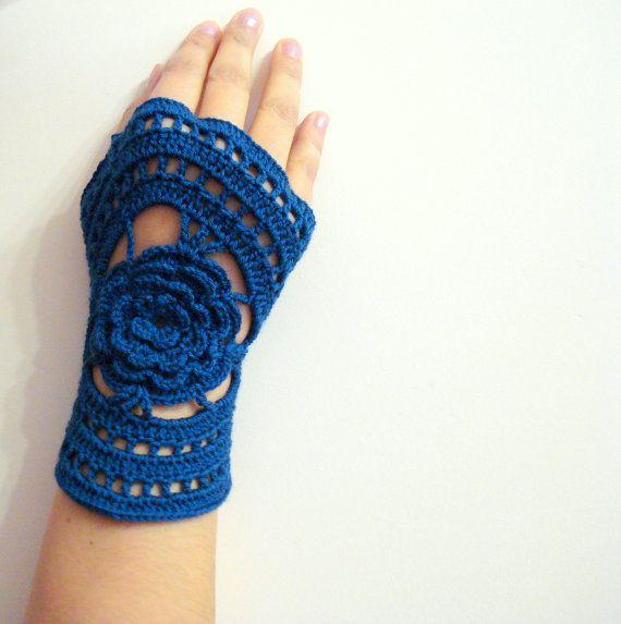 Crochet Fingerless Gloves, Kobalt, Dark Blue Lace Crochet Fingerless ...