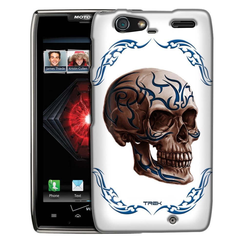 Motorola Droid Razr Maxx Blue Tattoo Skull on White Slim Case