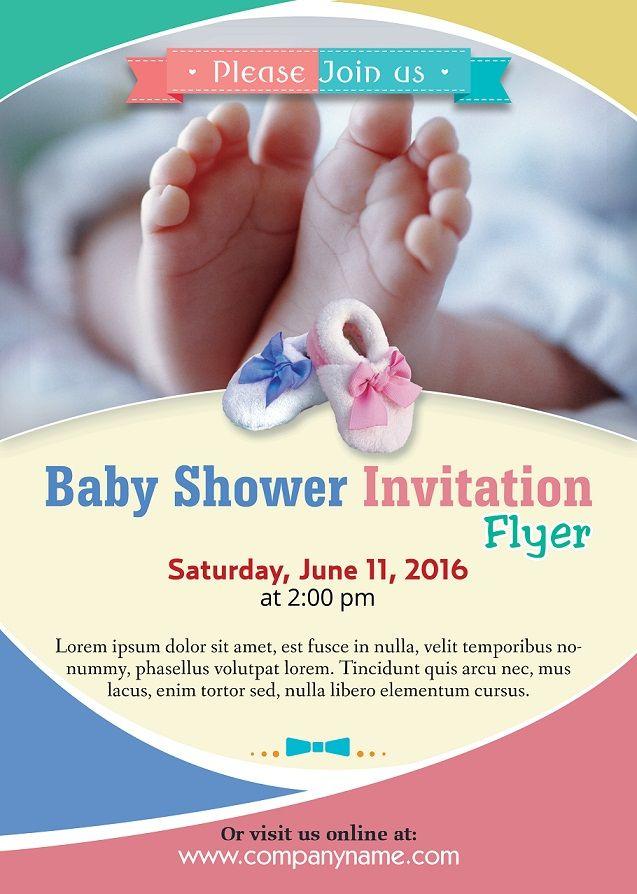 Baby Shower Flyer Template Photoshop Version Free Flyer Templates Baby Shower Invitations Diy Invitation Flyer Baby Shower Invitations