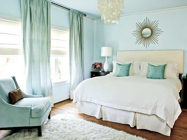 Soft Blue Sea Glass With Cream Subtle Accents Of Gold In Beachhouse Bedroom Beach Cottage