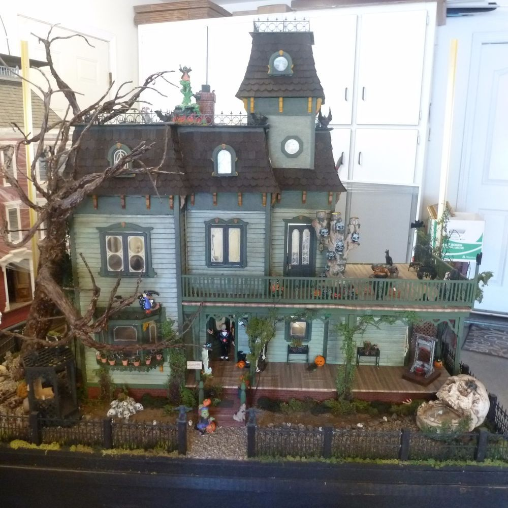 miniature halloween house completely filled with halloween decorations lg tree ebay