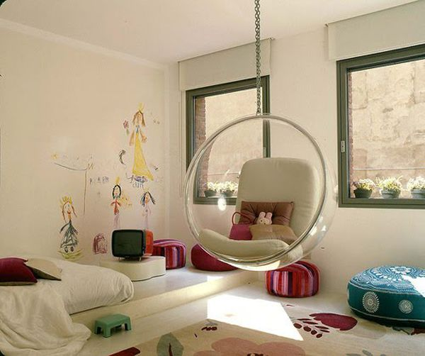39 Attic Living Rooms That Really Are The Best: Representation Of Chairs That Hang From Ceiling: A Way To