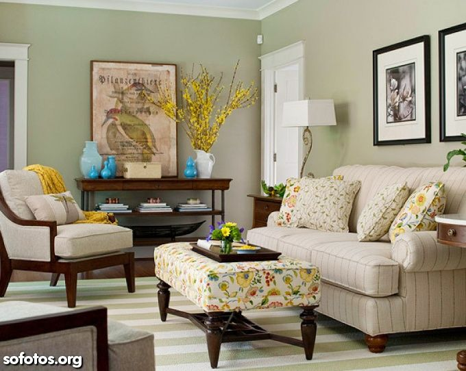 Living Room Decorating Ideas Neutral sala verde, sofa bege, piso listrado | sala | pinterest | living