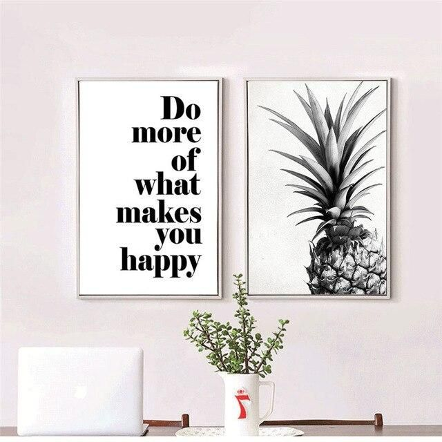 Photo of Nordic Canvas Painting Home Decor Wall Art Picture Living Room Bedroom Letter Quote Pineapple Minimalist Backdrop Nordic Poster – 40x60cm no frame / 2Pcs